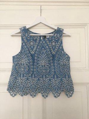 H&M Top recortado azul celeste-blanco