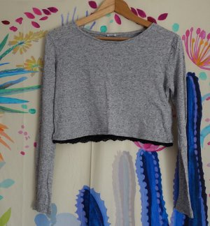 Crop-Top mit spitzen Detail, meliert
