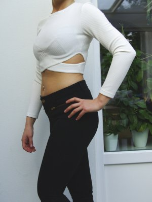 Crop Top Oberteil langärmig cropped shirt white weiß
