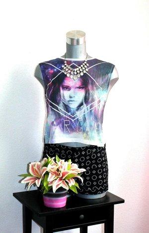 Crop Top Print Shirt Tshirt gr.36 Lila Weiß Woman Oversize