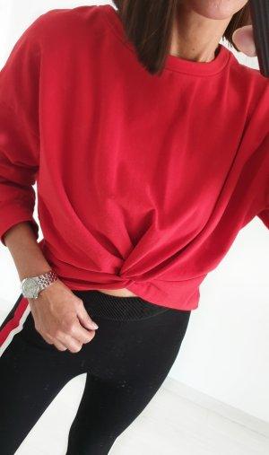 Crop Top Pullover bauchfrei mit Knoten Blogger Pulli