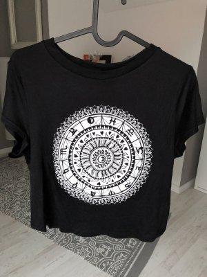 H&M Top recortado negro-blanco