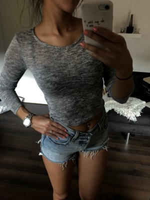 Crop Top | Shirt - graumeliert