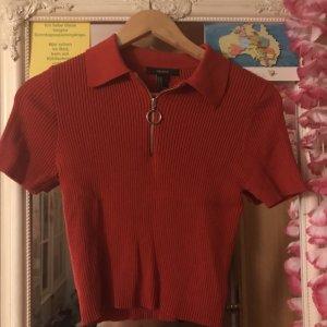 Crop Top T-Shirt Reißverschluss Ripped