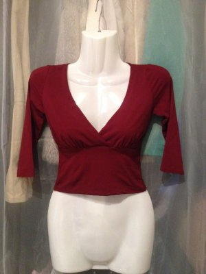 Crop Top V-Ausschnitt Gr. T1 (XS) bordeaux dunkelrot 3/4 Arm Nylon
