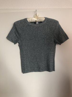 H&M Cropped shirt wit-grijs-groen