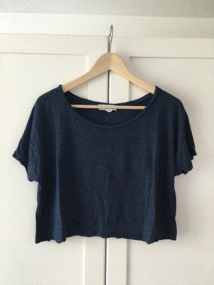 Cropped Basicshirt - blau