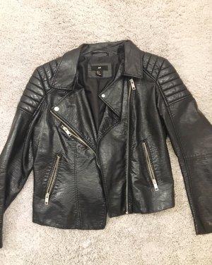 Cropped Bikerjacke aus Lederimitat