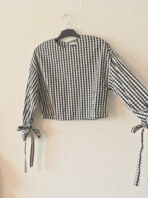 Cropped Bluse mit Schleife & Knopfleiste