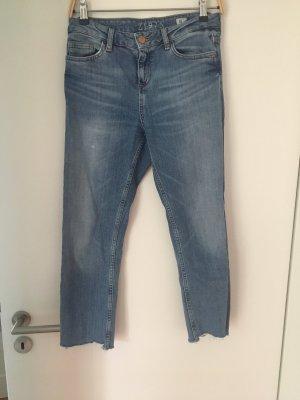 Zara Jeans a 7/8 blu acciaio Cotone