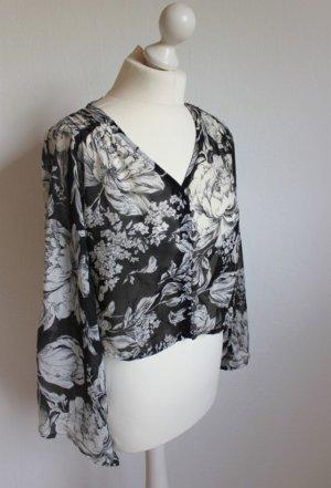 Cropped geschnittene Bluse mit Blumenmuster Mink Pink schwarz weiß im Vintagestil