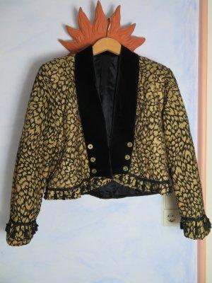 Cropped Golden Leo Tassel Jacket Vintage 80s gefütterte Pom Pom Steppjacke 42 Parisienne Made in France