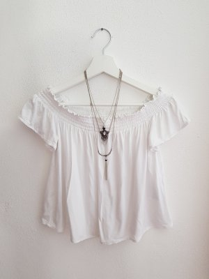 Cropped Off Shoulder Bluse weiß H&M