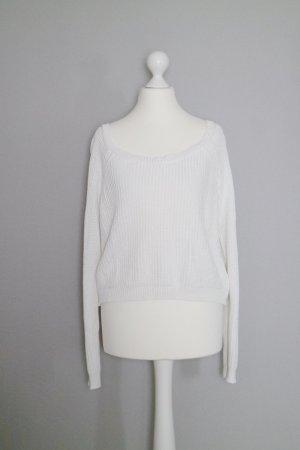 Cropped Oversize Strick Pullover Gr. M weiß naturweiß