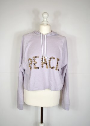 Cropped Oversized Hippie Pullover mit 'PEACE' im leichten Fliederton