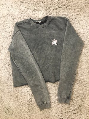Cropped Pulli mit Unicorn-Patch
