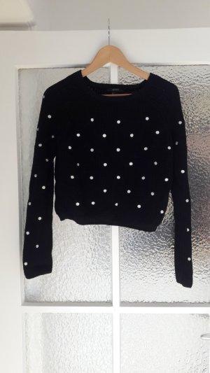 Cropped-Pullover mit weißen Punkten