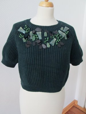 H&M Pull tricoté vert foncé-vert forêt tissu mixte