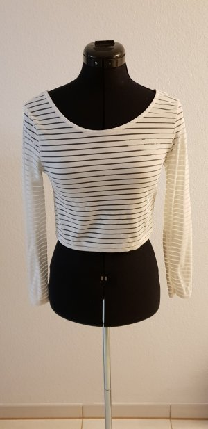 H&M Divided Cropped shirt wit Gemengd weefsel