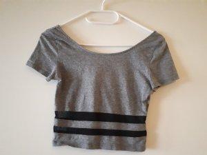 H&M Camicia cropped nero-grigio
