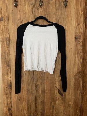 Pull & Bear Camisa recortada blanco-negro