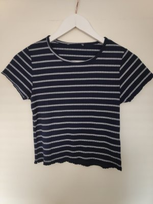 Cropped shirt wit-donkerblauw