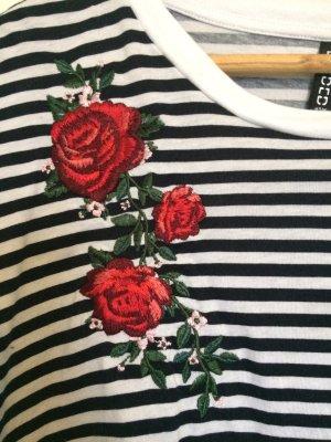 Cropped Shirt in Streifen mit Blumen Details