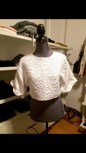 Cropped Shirt in weiß Größe S Baumwolle