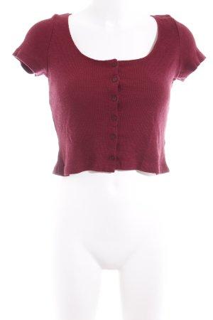 T-shirt court rouge carmin motif rayé style décontracté