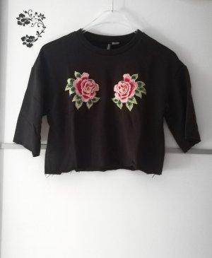 Cropped Shirt mit Blumen Patches Stickereien Gr. 34 Neu