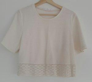 Cropped Shirt mit Häkeldetails