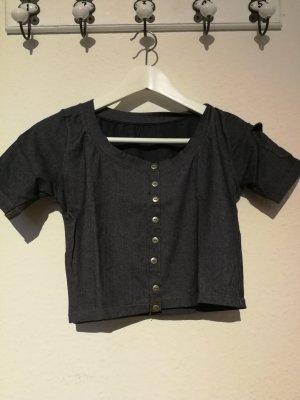 Cropped Shirt slate-gray-steel blue
