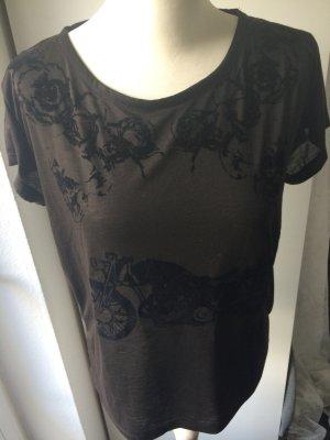 Cropped Shirt mit Samtdruck