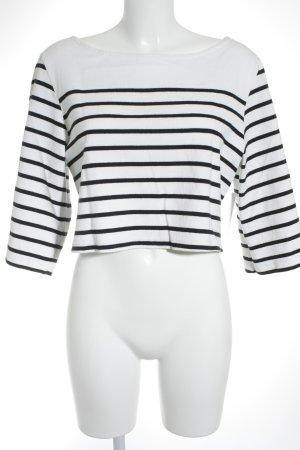 Cropped Shirt schwarz-wollweiß Streifenmuster minimalistischer Stil