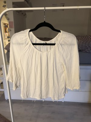 Cropped Shirt weiß Boho Festival Hippie locker luftig off shoulder carmen Monki