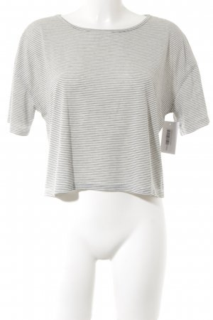 Cropped Shirt white-dark blue striped pattern casual look