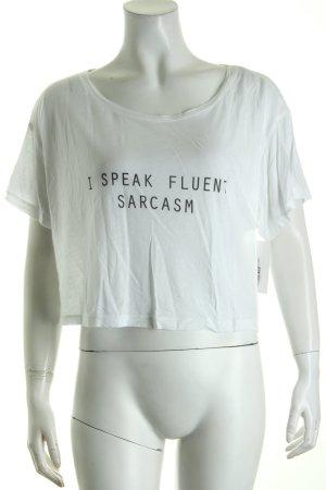 Cropped Shirt weiß-schwarz Schriftzug gedruckt schlichter Stil
