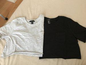Forever 21 Cropped shirt grijs-zwart