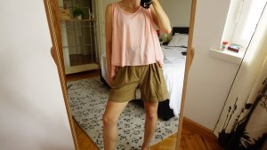 Cropped Sommer Top / peach / pink