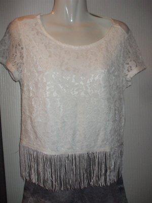 H&M Divided T-shirt court blanc tissu mixte