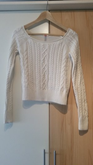 Cropped Strickpullover in Off-White