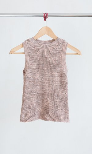 Cropped Stricktop  - altrosa/silber