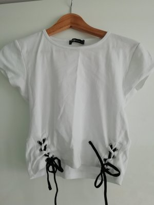 cropped t-shirt mit Schnürung black & white