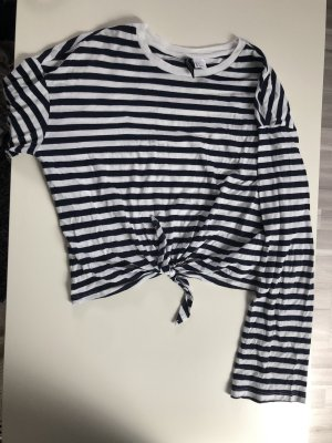 H&M Camisa recortada blanco-azul oscuro
