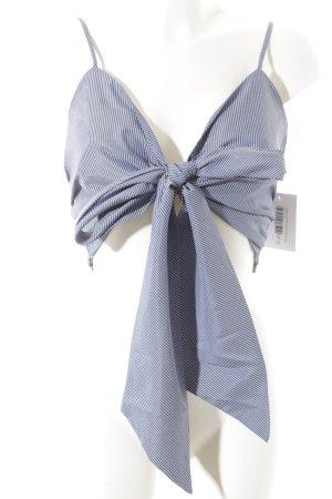 Cropped Top blau-weiß Streifenmuster Casual-Look