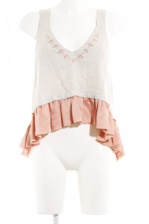 Cropped Top creme-rosa florales Muster Country-Look