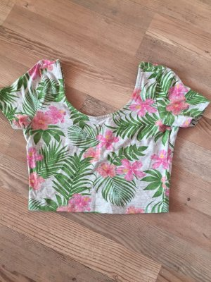 Cropped top H&M hawaii Blumen pink grau neu