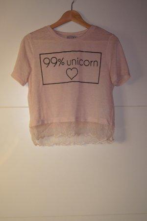 Cropped Top, Kurzshirt, mit Spitze, 99% Unicorn, Einhorn, Laceshirt von Asos