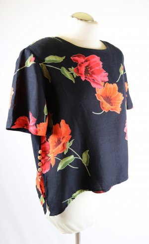 Cropped Top Shirt Bluse Kurz Tunika N Größe L 42 Schwarz Rot Mohn Blüten Blumen Grün Leinen Viskose Zipfel Lagenlook