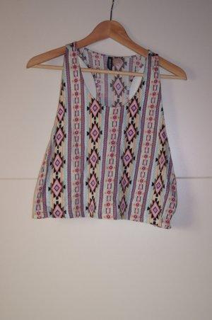 Cropped Top/ Shirt mit zackigem Aztekenmuster/ Ethnomuster, von H&M